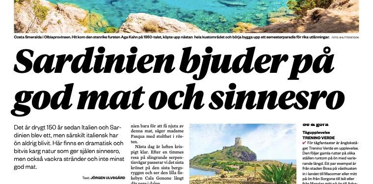 Lokaltidningen Hallå! Malmö Västra skriver omSardinien.