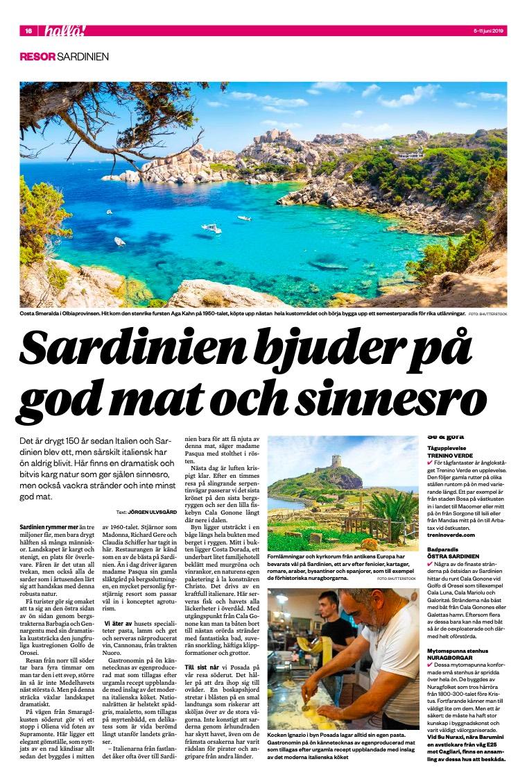 Articolo Västra Malmö tidning Hålla Sardegna